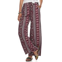 Juniors' Joe B Challis Tie Front Wide-Leg Pants