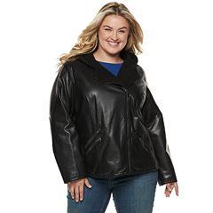 Plus Size Levi's® Hooded Asymmetrical Faux-Leather Moto Jacket