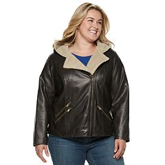 Plus Size Levi's® Hooded Asymmetrical Faux-Leather Moto Jacket