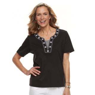 Women's Cathy Daniels Embroidered Trim Mock-Layer Top