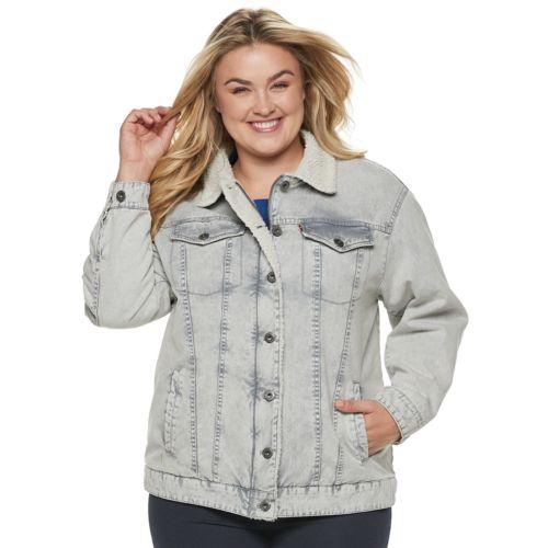 Plus Size Levi S Sherpa Lined Denim Trucker Jacket