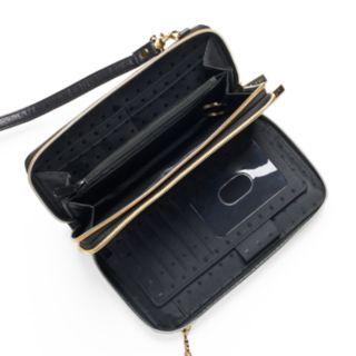 DOPP Roma Ultimate Double Zip Organizer Leather Crossbody Wallet