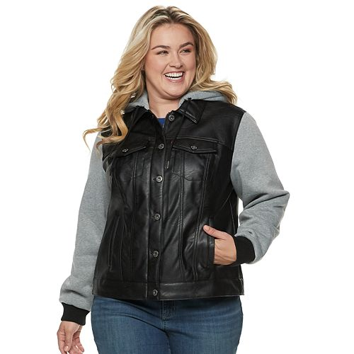 Plus Size Levi's® Hooded Mixed-Media Trucker Jacket