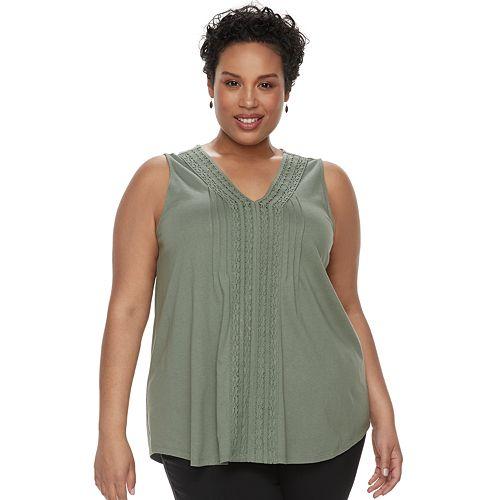 Plus Size Croft & Barrow® Pintuck Crochet-Trim Tank