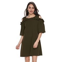 Women's Nina Leonard Cold-Shoulder Ruffle Swing Dress