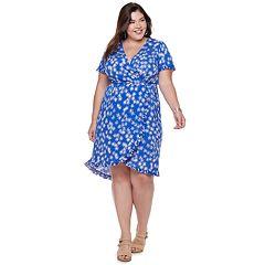 Plus Size Suite 7 Floral Wrap Dress