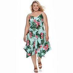 Plu Size Suite 7 Floral Print Handkerchief Hem Dress