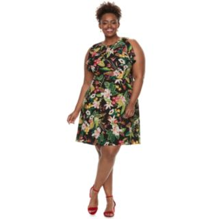 Plus Size Suite 7 Floral Fit & Flare Dress