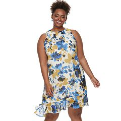 Plus Size Suite 7  Asymmetrical Ruffle Shift Dress