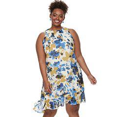 Plus Size Suite 7  Asymmetrical Ruffle Shift Dress