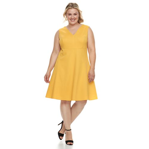1ae59a082b6 Plus Size Suite 7 Fit   Flare Sleeveless Dress