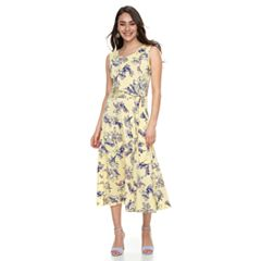 Women's Nina Leonard Print Fit & Flare Midi Dress