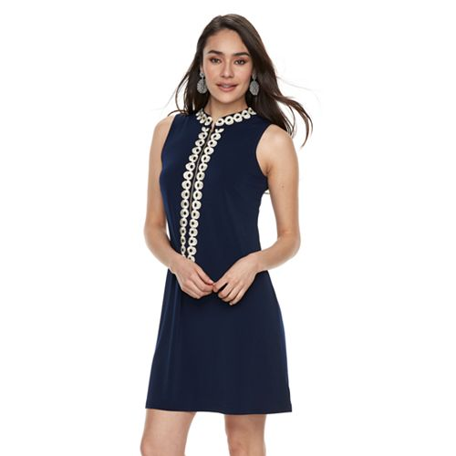Women's Nina Leonard Gold-Tone Embroidered Sheath Dress