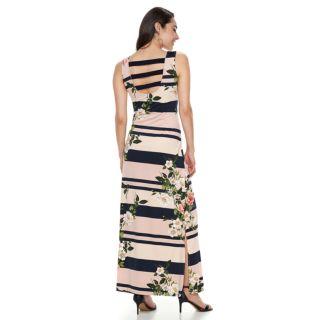 Women's Nina Leonard Floral Striped Maxi Dress