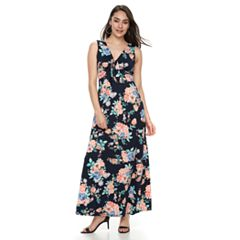 Women's Nina Leonard Floral Tie-Front Maxi Dress