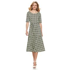 Women's Nina Leonard Tile Print Midi Dress