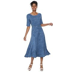 Women's Nina Leonard Tile Print Midi Dress