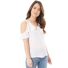 Juniors' IZ Byer Cold-Shoulder Keyhole Top