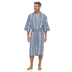 Men's Residence Summer Shells Striped Seersucker Kimono Robe