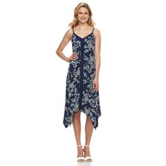 Women's Nina Leonard Floral Handkerchief Hem Dress