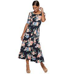 Women's Nina Leonard Leopard Print A-Line Midi Dress