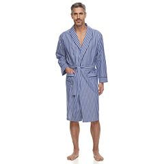 Men's Residence Striped Poplin Shawl-Collar Robe