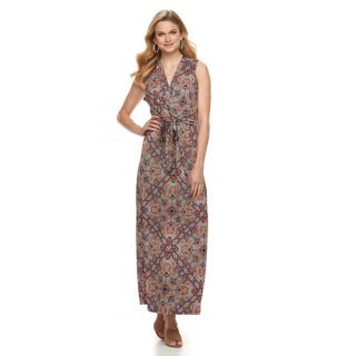 Women's Nina Leonard Print Twist-Front Maxi Dress