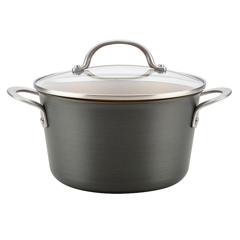 Ayesha Curry Home Collection 4.5-quart Hard-Anodized Aluminum Covered Saucepot. Grey. 4 1/2 QT