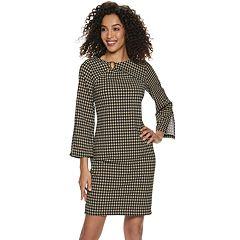 Women's Nina Leonard Asymmetrical Buckle Sheath Dress