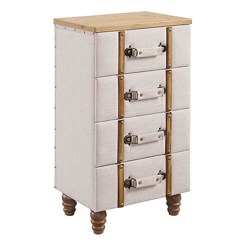 Linon Sarah 4-Drawer Upholstered Storage Cabinet