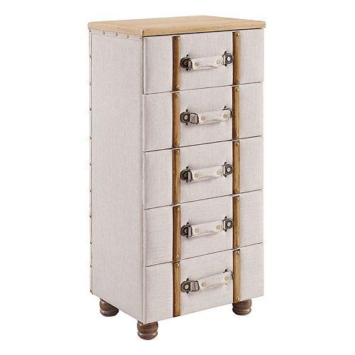 Linon Sarah 5-Drawer Upholstered Storage Cabinet