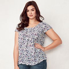 Plus Size LC Lauren Conrad Love, Lauren Pleated Top