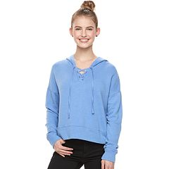 Juniors' SO® Cropped Lace-Up Hoodie