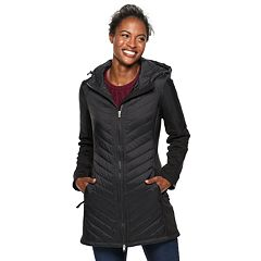 Women's Be Boundless Hooded Long Mixed-Media Jacket