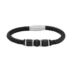 Men's Black Leather & Stainless Steel Woven Bracelet