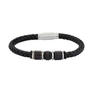 Men's Black Leather & Stainless Steel Woven Bracelet