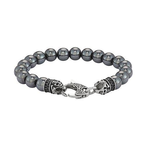 Men's Stainless Steel & Hematite Bead Bracelet