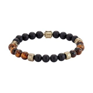 Men's Stainless Steel Tiger's Eye & Onyx Bead Bracelet