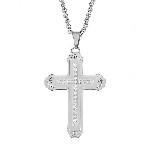 Men's Stainless Steel Cubic Zirconia Cross Pendant Necklace