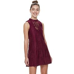 Juniors' Three Pink Hearts Illusion Mockneck Shift Dress