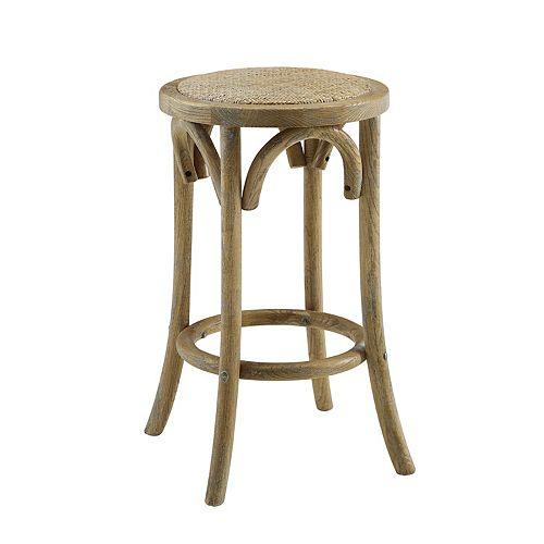 Linon Rae Backless Wood Counter Stool