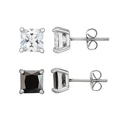 Men's Stainless Steel Black & White Cubic Zirconia Square Stud Earring Set