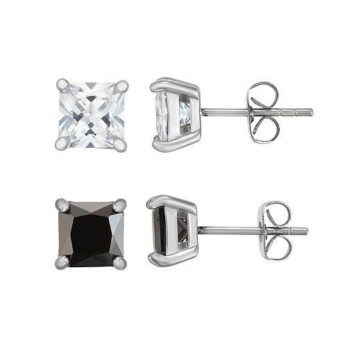 Men S Stainless Steel Black White Cubic Zirconia Square Stud Earring Set