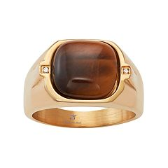 Men's Gold Tone Stainless Steel Tiger's Eye & Cubic Zirconia Ring