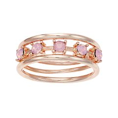LC Lauren Conrad Simulated Crystal Ring Set