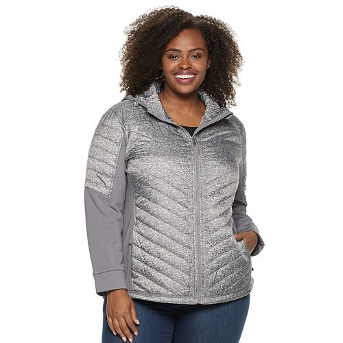 Plus Size Be Boundless Hooded Mixed-Media Jacket