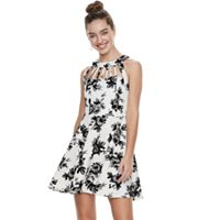Juniors' Three Pink Hearts Floral Scuba Caged Skater Dress