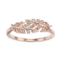 LC Lauren Conrad Simulated Crystal Leaf Bypass Ring