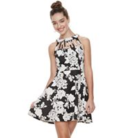 Juniors' Three Pink Hearts Floral Puff Scuba Caged Skater Dress