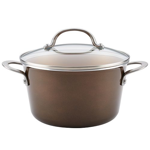 Ayesha Curry Home Collection 4.5-quart Porcelain Enamel Nonstick Covered Saucepot